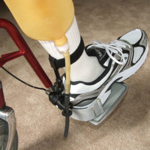 The JB-3 Leg Bag set up on a wheelchair